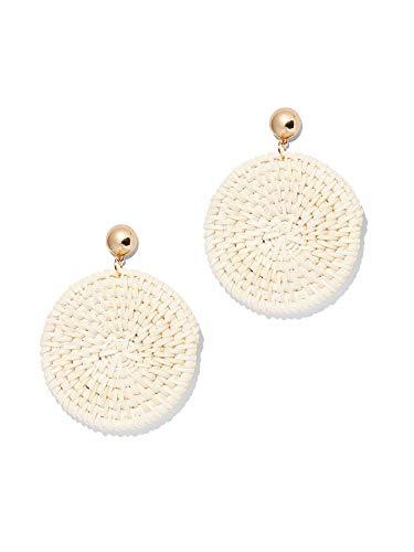 (New York & Co. Women's Basket-Weave Circular Drop Earring 0 Hazelnut Latte )