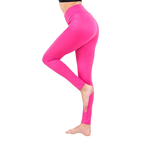 Baihetu Buttery Soft Leggings for Women-Regular and Plus Size Leggings with Inner Pockets -Yoga Pants Pink One Size (Hot Pants Yoga Pink)