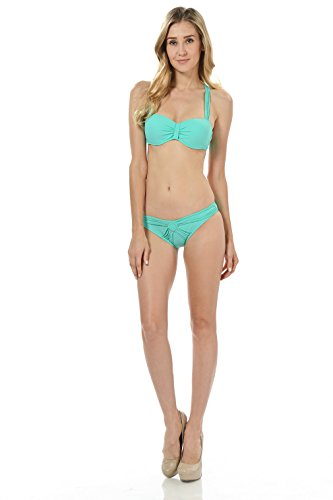 Basico Block Colored Push Up Bikini Padded Bra Swimwear with Free Scarf (Large, M 17-2 Mint)