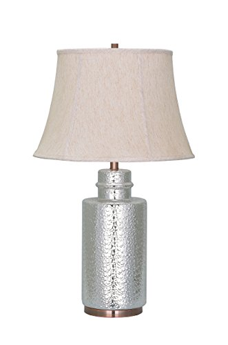 - Aspen Creative 40001, High Transitional Ceramic Table Lamp, Chrome with Antique Copper Base and Bell Shaped Lamp Shade, 17