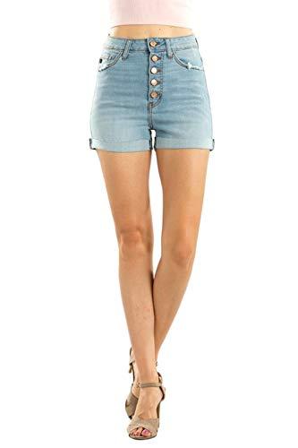 KanCan Women's High Rise Button Fly Flip Cuff Denim Shorts S Light KC9113L