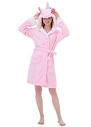 ABENCA Women Adult Animal Cartoon Unicorn Bath Robe Flanel Fleece Hooded Halloween Christmas Cosplay Robe (L for Height 5'5