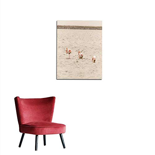 Photographic Wallpaper Three Flamingo Walking on The Salt Lake Mural 16