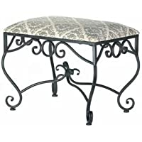 SKB Family Marvelous Manor Stool Home New Indoor Canvas Seat Furniture Damask Curls Black Metal Classic Bench Vanity Bedroom Bathroom