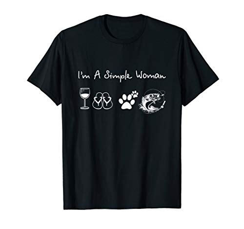 I'm A Simple Woman Wine Flip Flops Dog Paw Fishing T Shirts (Best Fishing Dog Breed)