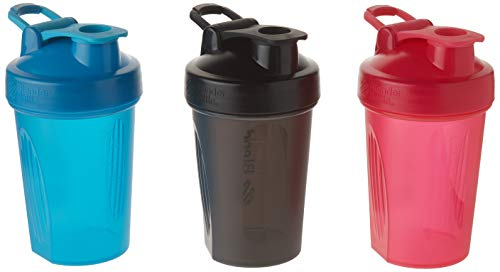 BlenderBottle 20oz Classic Loop Top Shaker Bottle 3-Pack, Full Color (Blue/Black/Red) - No Duplicate or Different Colors