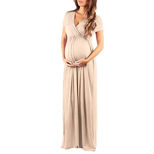 (Kinrui Women's Tops & Blouse Womens Pregnancy V-Neck Short Sleeve Casual Boho Print Gown Maxi Dress Sundress (Khaki, M))