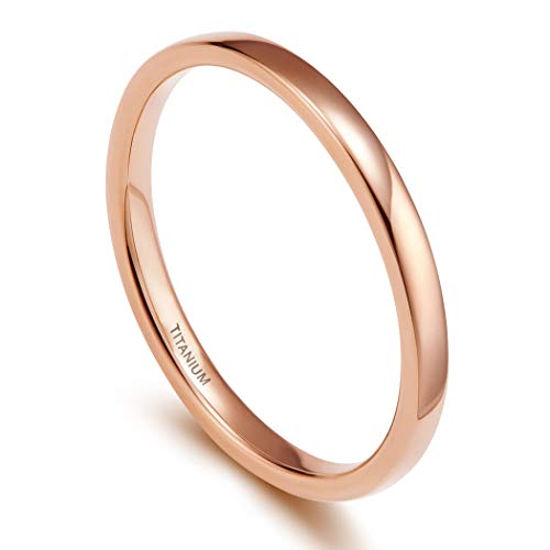 TIGRADE 2mm Women Titanium Ring Rose Gold Plated Dome High Polished Wedding Band (Size 10.5) 2 Ring Wedding Set