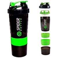 VAISHNO Protein Shaker Bottle for Gym 500ml with 100% Leak-Proof and Food Grade Material | 2 Extra Compartment for Supplement,Pills Storage (Green)