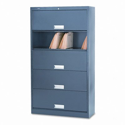 HON 625LS 600 Series 36 by 13-3/4 by 76-Inch 5-Shelf Steel Receding Door Letter File, Charcoal