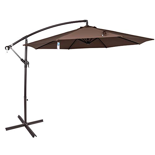 Sundale Outdoor 10 Feet Aluminum Offset Patio Umbrella with Crank and Cross Bar Set, Cantilever Umbrella for Deck, Garden, Backyard, 8 Steel Ribs, 100% Polyester Canopy Shade (Chocolate)