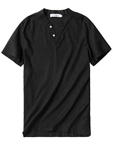 CALOLEYNG Mens Linen V Neck Short Sleeve Stretch Vintage T Shirts Casual Summer Beach Shirts Black ()