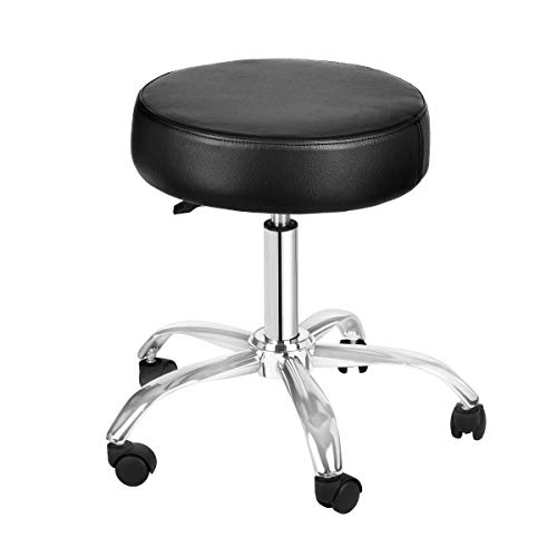 AdirMed Lux Height-Adjustment Stool - Pneumatic Rolling Swivel Stool - Versatile Mobility & Elevation for Spa Salon Home & Office Use (Black) ()