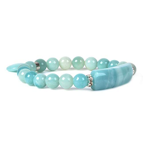 - Natural Blue Amazonite Gem Semi Precious Gemstone Love Heart Charm Stretch Bracelet