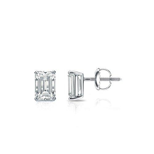 - Diamond Wish 14k White Gold Emerald-Cut Diamond Stud Earrings (3/5 carat TW, O.White, SI1-SI2) 4-Prong Basket, Screw-Back