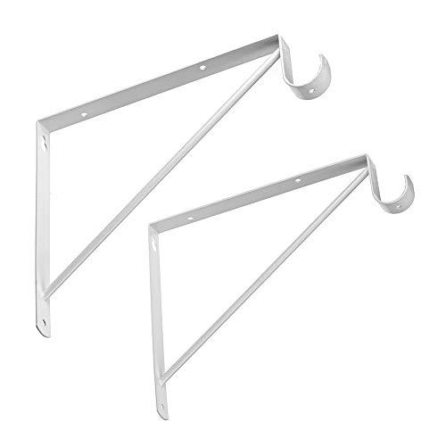 Dewell 2 Pcs Shelf and Rod Brackets, Wall Mounted Shelf Supports White,SRB300 (Shelf Rod And Closet)