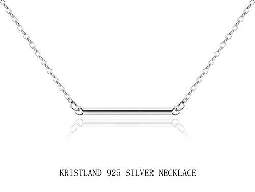 (KristLand -18K Rose Gold / S925 Silver Bar Short Necklace Simple Solid Cross Necklace Adjustable Long Choker Bar)