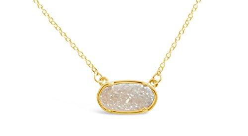 Drusy Quartz Necklace (Ellena Rose Dainty Drusy Necklace - 14K Gold Plated Oval Druzy Pendant Necklace For Women (White))
