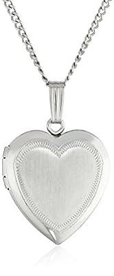 "Sterling Silver Satin-Finish Engraved Heart Locket, 18"""