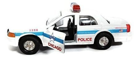 "5"" Diecast Metal White Chicago Police Car with Pullback"