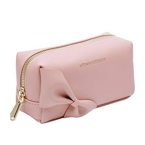 Rownyeon Small Makeup Bag Handy Travel Cosmetic Toiletry Pouch Bow-knot Cute Handbag Leather Purse for Women Girls(Pink,Small)