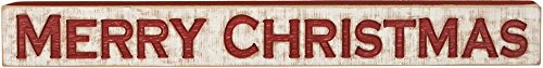 Primitives by Kathy Distressed Red and White Carved Sign, Merry -