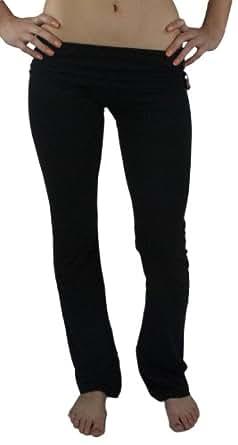 Fashion Basics Fold Over Cotton Yoga Pants, Black, Medium