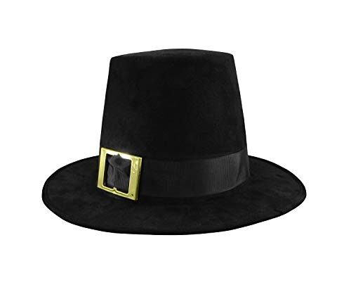Deluxe Pilgrim Hat with Buckle Top Hat Costume, Black, One Size]()