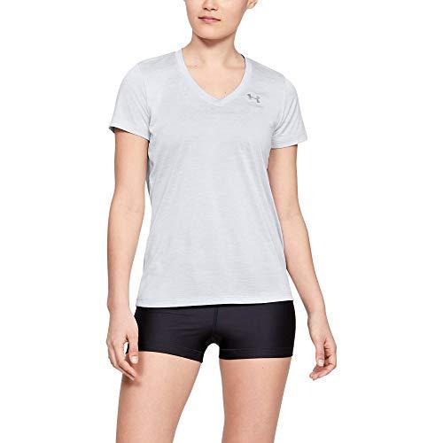 Under Armour Women's Tech V-Neck Twist Short Sleeve T-Shirt, Halo Gray (014)/Metallic Silver, Medium (Halo T Shirt Small)