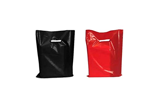 Red Black Handles - Plastic Merchandise Bags, Retail Clothes Shopping Bag, 12