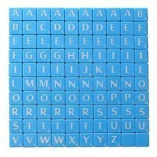 Nuevo Azulejos De Plástico Scrabble Cartas Plástico Azul & Letras ...