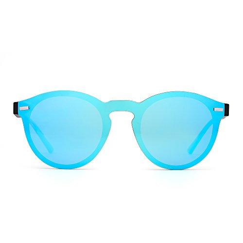 Polarized Rimless Sunglasses Reflective One Piece Round Mirrored Eyeglasses for Men Women (Matte Black / Mirror - Optical Sunglasses