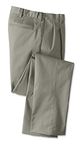 Orvis Men's Wrinkle-Free Comfort-Waist Stretch Cotton Chinos Pleated, Olive, Cuffed, 44W X 28 1/2L