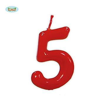 Vela roja con el número 5 para cumpleaños: Amazon.es ...