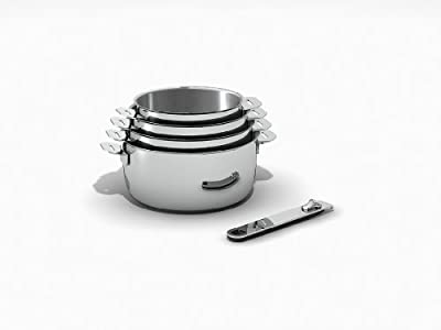 Kitchen Fun by beka 12566964 Move On Série de 4 Casseroles + 1 manche amovible en acier inoxydable 14/20 cm