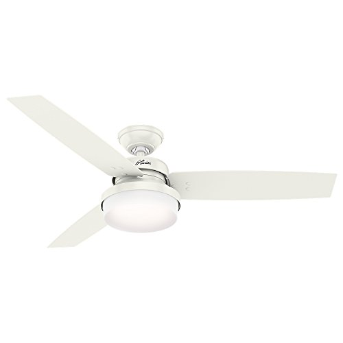 """Hunter Fan Company 59169 Sentinel 52"""" Ceiling Fan with Light with Handheld Remote, Large, Fresh White"""