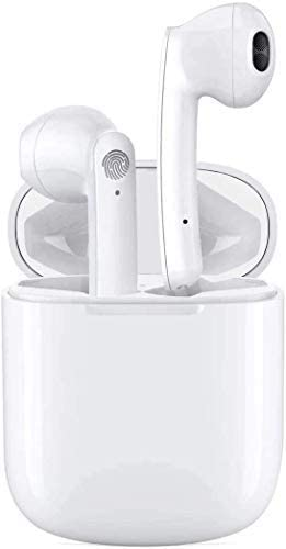 QIANXIANG BT 5.0 Earbuds with Charging Case,in-Ear Micphone, 24H Playtime, Touch Control, IPX5 Waterproof, Stereo Sound, Noise Canceling, Pop-ups Auto Pairing Compatible with Phone airpods/Android.