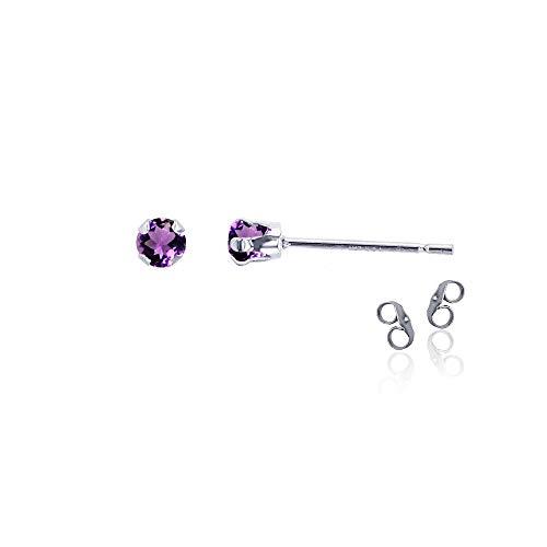 (Sterling Silver Rhodium 3mm Round Natural Purple Amethyst February Birthstone Stud Earrings)