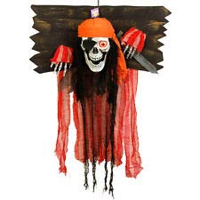 tcpglobal Halloween Haunter Animated Hanging Skeleton Pirate Torture Stock Prop Decoration