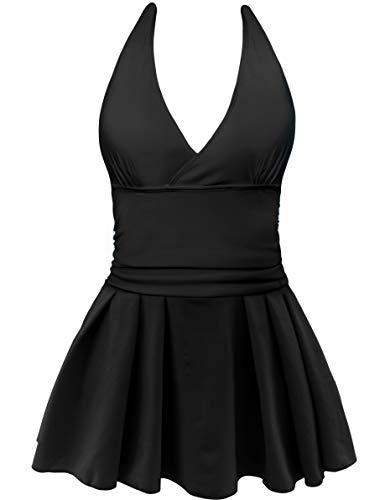 AONTUS Women's Plus Size Swimsuits Tummy Control One Piece Swim Dresses Bathing Suit (XXXX-Large(US Size:24W-26W), Z-Backless-Black) ()