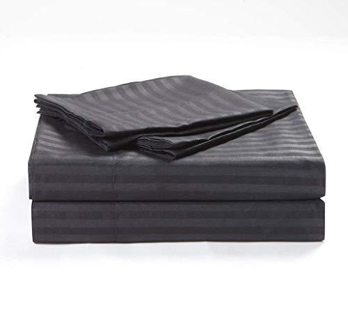 Bedding Sheets 4-Piece Set, Dark Grey Stripe Twin Size 15