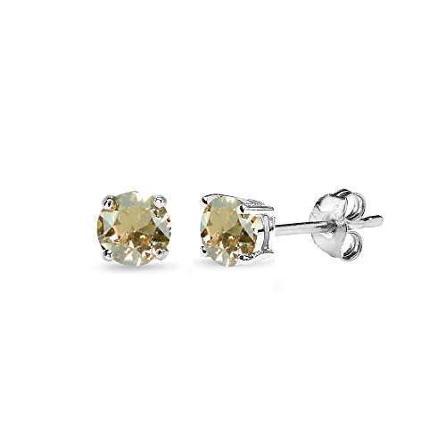 Ring Swarovski Golden (Sterling Silver 4mm Golden Shadow Stud Earrings Made with Swarovski Crystals)