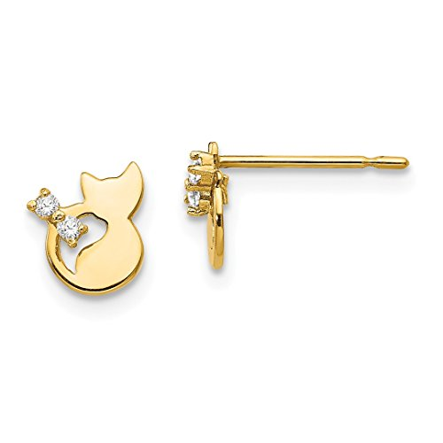 ICE CARATS 14kt Yellow Gold Cubic Zirconia Cz Childrens Cat Post Stud Earrings Earring Animal Dog Fine Jewelry Ideal Gifts For Women Gift Set From Heart 14kt Gold Cat Ring