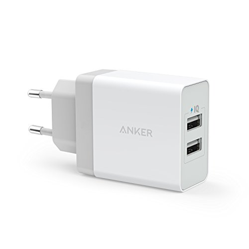 Carregador de tomada PowerPort, 2 portas USB, Potência de 24W, Branco