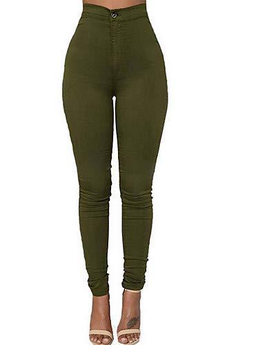 Yellow Haute Couleur Taille YFLTZ Femme Unie Jeans Pantalon Hwaqx0B