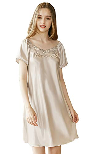 (Sexy Silky Chemise Sleepwear Female Satin Soft Short Nightgown Nightdress Women Charmeuse Lace Short Sleeves Sleepshirt Size XL Champagne)