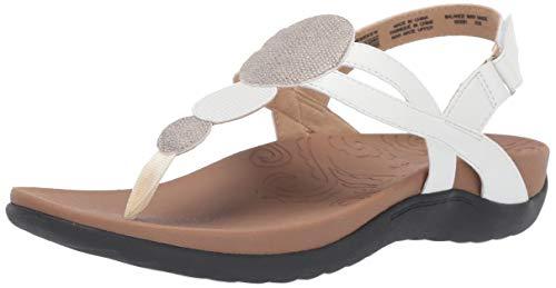 Rockport Women Ridge Circle Thong Slide Sandal, White, 8.5 W US