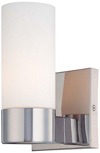 (Minka Lavery Wall Sconce Lighting 6211-77, Wall Sconces Reversible Glass Damp Bath Vanity Fixture, 1 Light, 60 Watts, Chrome)