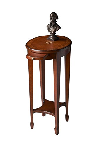 Home Decorative Solidwood Olive Ash Burl Light Accent Table with Pull Out Tray and Shelf