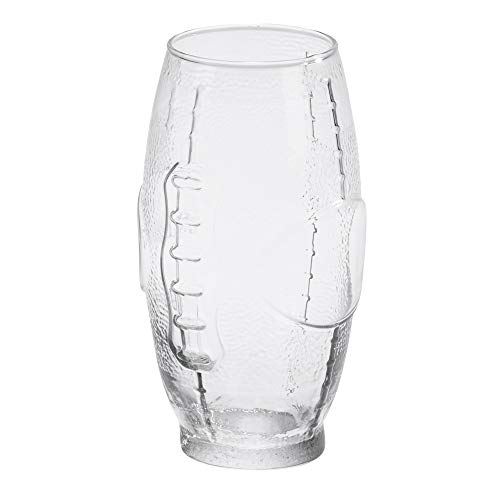 Football Shaped Pebbled Crystal Clear 23 ounce Classic Glass Beer Glass ()